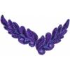 Motif Sequin/beads 26x8cm Leaf Shape Purple